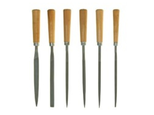 6 Pc 160mm Needle File W/wooden Handle Set